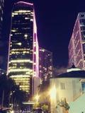 City lights at nite stock photography