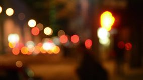 City lights and pedestrians stock footage