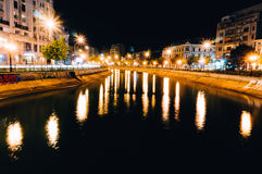 City lights reflected in river Stock Photography