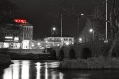 City lights reflecting at night