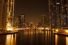 City Lights reflecting in water Stock Photo