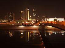 City lights reflection in the river. Vilnius city lights reflection in the river Neris Stock Photo