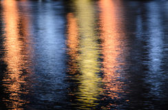 City lights reflection on the water Stock Photography