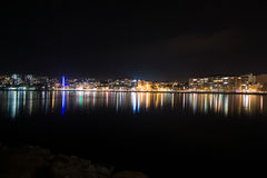City lights reflexion in water. The lights of Canakkale City, Turkey reflected in the water Stock Photos