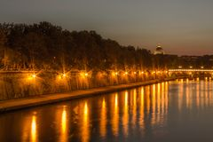 The eternal city of Rome by Night stock photography