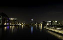 City lights on Spree river stock image