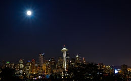 City Lights in Super Moon Royalty Free Stock Photography