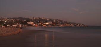 City lights view Laguna Beach at night Stock Photos