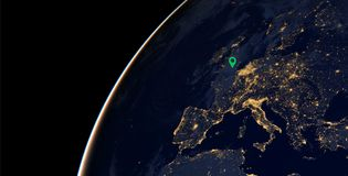 Europe City lights on world map. Europe. Elements of this image are furnished by NASA. City lights on world map with a location pin on London . Europe. Elements Royalty Free Stock Photos