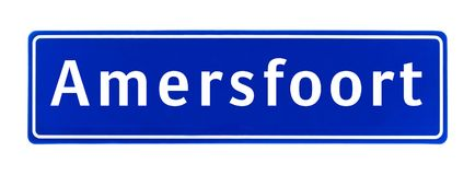 City limit sign of Amersfoort, The Netherlands. Isolated on a white background Stock Photos