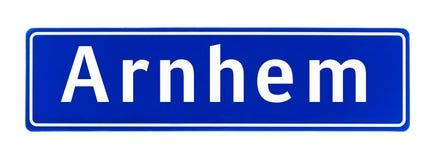 City limit sign of Arnhem, The Netherlands Royalty Free Stock Photos