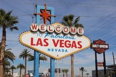 City limit sign closeup Las Vegas royalty free stock photos