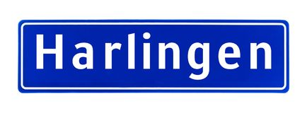 City limit sign of Harlingen, The Netherlands. Isolated on a white background Royalty Free Stock Image