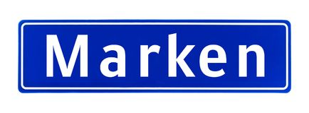 City limit sign of Marken, The Netherlands Stock Images