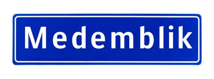 City limit sign of Medemblik, The Netherlands. Isolated on a white background Stock Images