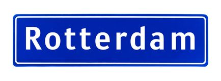 City limit sign of Rotterdam, The Netherlands Royalty Free Stock Photo