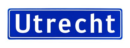 City limit sign of Utrecht, The Netherlands Stock Images