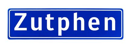City limit sign of Zutphen, The Netherlands Royalty Free Stock Photo