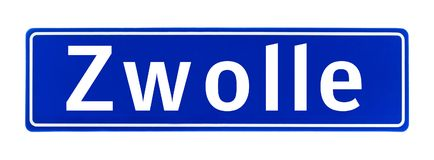 City limit sign of Zwolle, The Netherlands Royalty Free Stock Photo