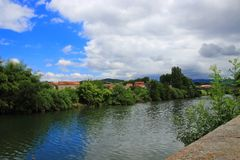 City of Limoux and Aude river in France stock images