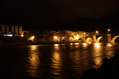City of Limoux and river Aude by night , France Royalty Free Stock Photography