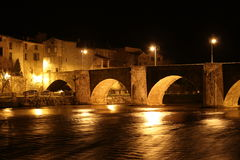 City of Limoux and river Aude by night , France Royalty Free Stock Photo