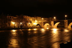 City of Limoux and river Aude by night , France Royalty Free Stock Image