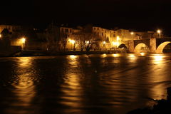 City of Limoux and river Aude by night , France Stock Image