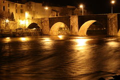 City of Limoux and river Aude by night , France Royalty Free Stock Images