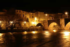 City of Limoux and river Aude by night , France Stock Photo