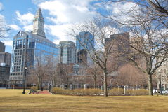 City-line of Boston. View of Boston's downtown from a park in winter, Massachusetts, USA Royalty Free Stock Image