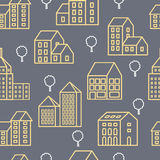 City Line seamless. Seamless repeating linear pattern of urban buildings and structures Stock Images