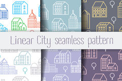 City Line seamless. Set seamless repeating linear pattern of urban buildings and structures Stock Image