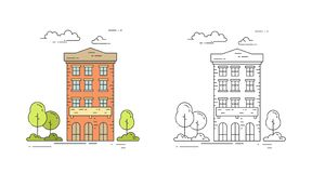 City line vintage house vector illustration set with multi storey apartment building with trees and clouds. City line vintage house vector illustration set with stock illustration