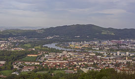 City of Linz. And Danube River as seen from the hill Pöstlingberg, Austria Royalty Free Stock Image