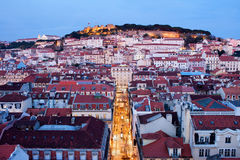 City of Lisbon at Dusk in Portugal Stock Photo
