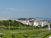 City of Lisbon,Portugal. Lisbon City, King Edward VII Park. On the hill is the ancient and historic St George Castle which was a stronghold for the city of Royalty Free Stock Images
