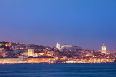 City of Lisbon Skyline at Night in Portugal Royalty Free Stock Image
