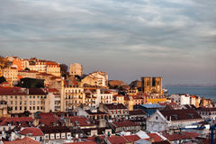 City of Lisbon Skyline at Sunset in Portugal Royalty Free Stock Photos