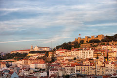 City of Lisbon at Sunset in Portugal Royalty Free Stock Image