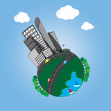 City of little planet with green tree Royalty Free Stock Photography