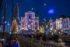 City of Ljubljana in Slovenia. Ljubljana city on Christmas Eve bathed by lights. Fabulously Stock Photo