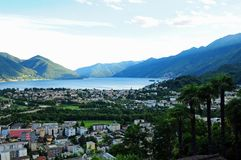 The city of Locarno and Ascona and the Lake Maggiore seen from Orselina. South Switzerland: The city of Locarno and Ascona and the Lake Maggiore seen from royalty free stock images