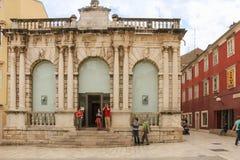 City Loggia. Zadar. Croatia. Renaissance facade of the City Loggia (Gradska loza)  in Narodni square (Narodni trg). Zadar. Croatia Stock Photos