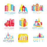 City logo original design set, logotype elements with buildings vector Illustrations. Isolated on a white background Royalty Free Stock Photo