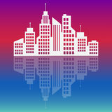 City logo,  at sunset, vector building web icon Royalty Free Stock Photos