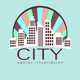 City logo, vector building web icon Stock Images