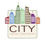 City logo, vector building web icon, label, urban landscape,  silhouettes, cityscape, town skyline, skyscrapers. Contour colorful Royalty Free Stock Image