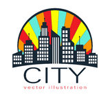City logo, vector building web icon Royalty Free Stock Photos