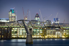 City of London. One of the leading centres of global finance. this view includes :Tower 42 Gherkin, Willis Building, Stock Exchange Tower and Millennium Bridge royalty free stock photos